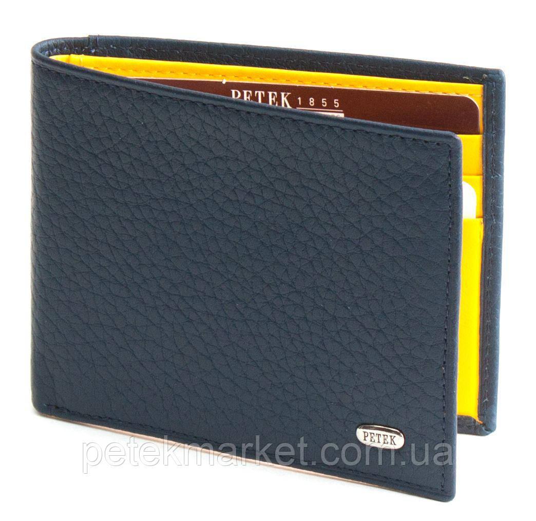 Мужское портмоне Petek 236/2, Синий/Желтый, 1, 5+, Горизонтальное, Естественная фактура, Нет, Матовая, Компактное