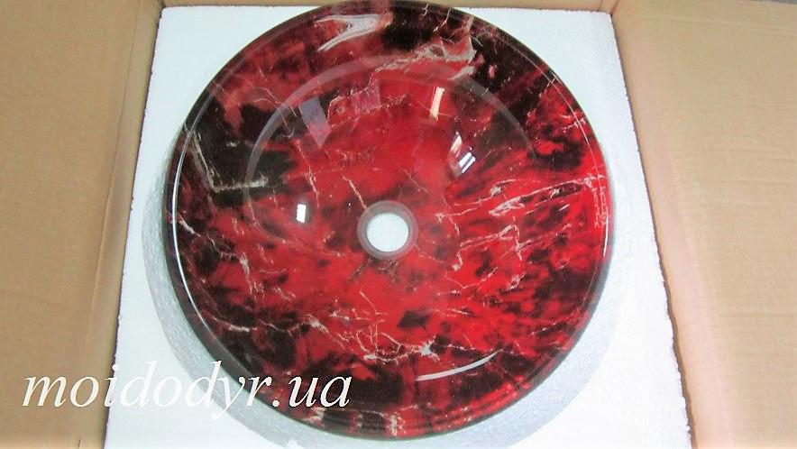 Умывальник стеклянный двухслойный круглый 420 мм (Бордо)