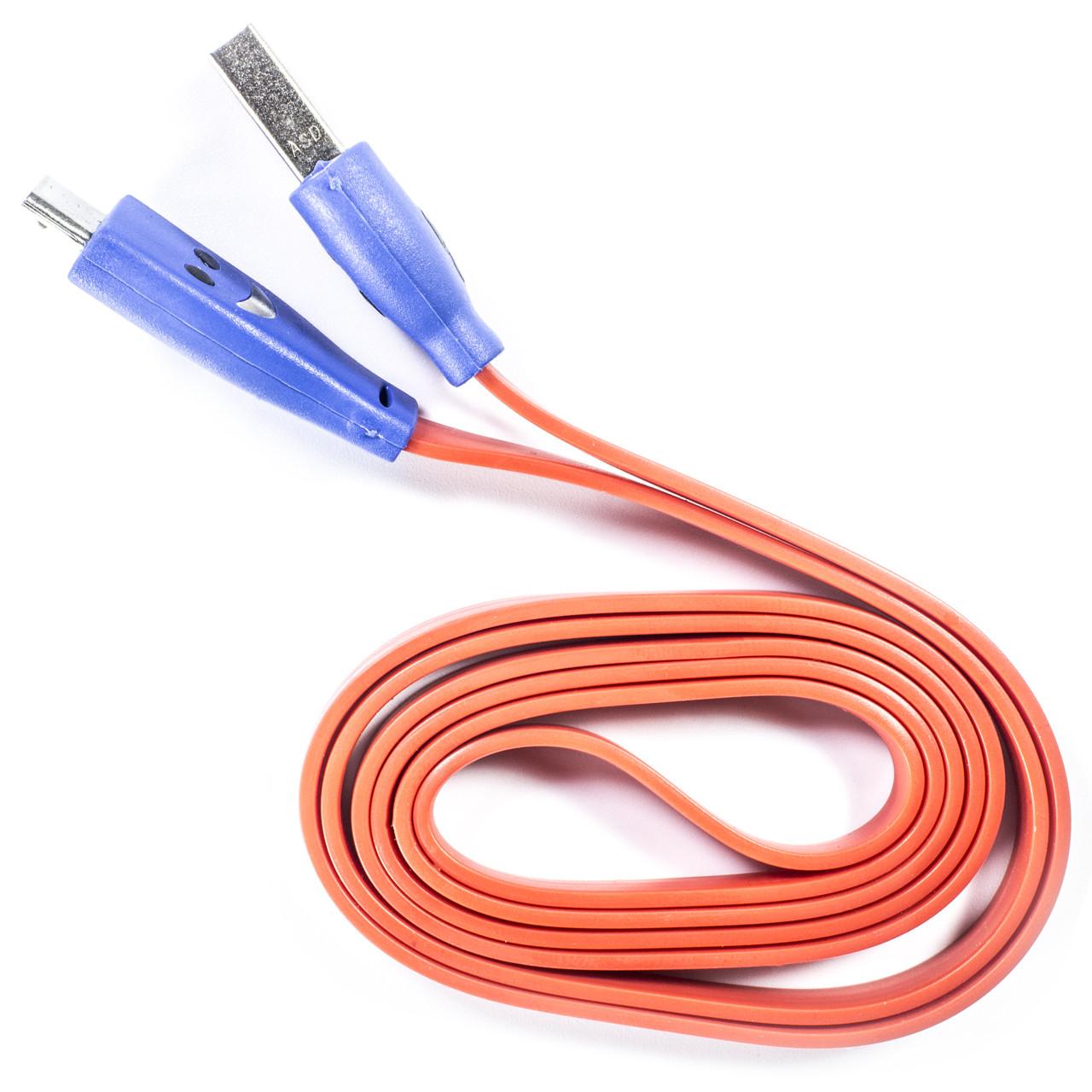 Кабель Lesko microUSB/USB 1m Красный USB с подсветкой для смарфона планшета навигатора