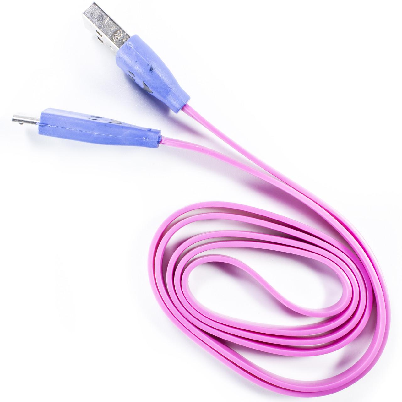 Кабель Lesko microUSB/USB 1m Розовый USB с подсветкой для смарфона планшета навигатора