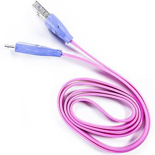 Кабель Lesko microUSB/USB 1m Розовый USB с подсветкой для смарфона планшета навигатора, фото 2