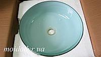 Умывальник стеклянный двухцветный круглый 420 мм (белый)