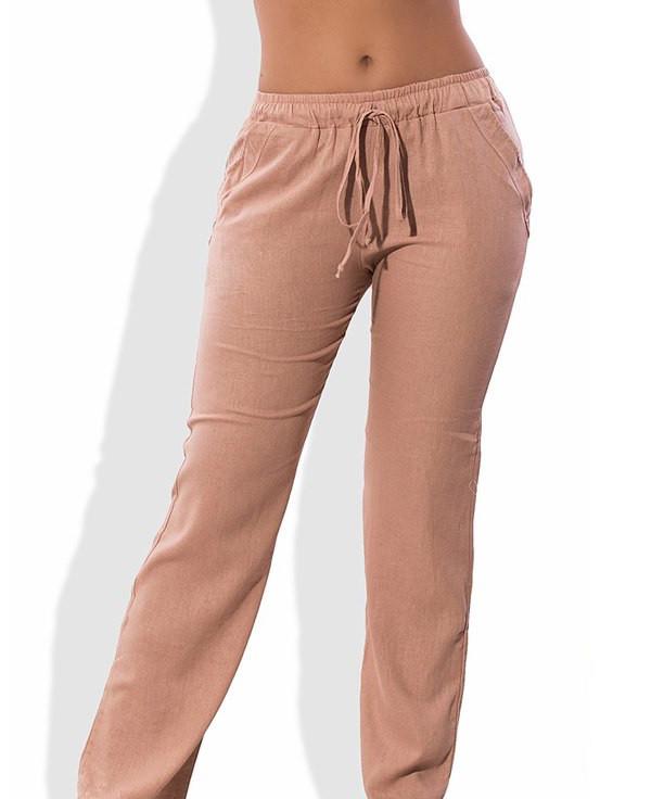 Льняные бежевые летние брюки 1280