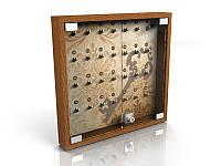 Настенные шкафчики для ключей (ключница) на 28 ключей, 580х580 мм (Вид крючков: Крючок с акрила;  Цвет ДСП: Алюминий;), фото 1