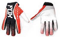 Кроссовые перчатки текстильные FOX  (закр. пальцы, р-р M-XL, черный-красный-белый)