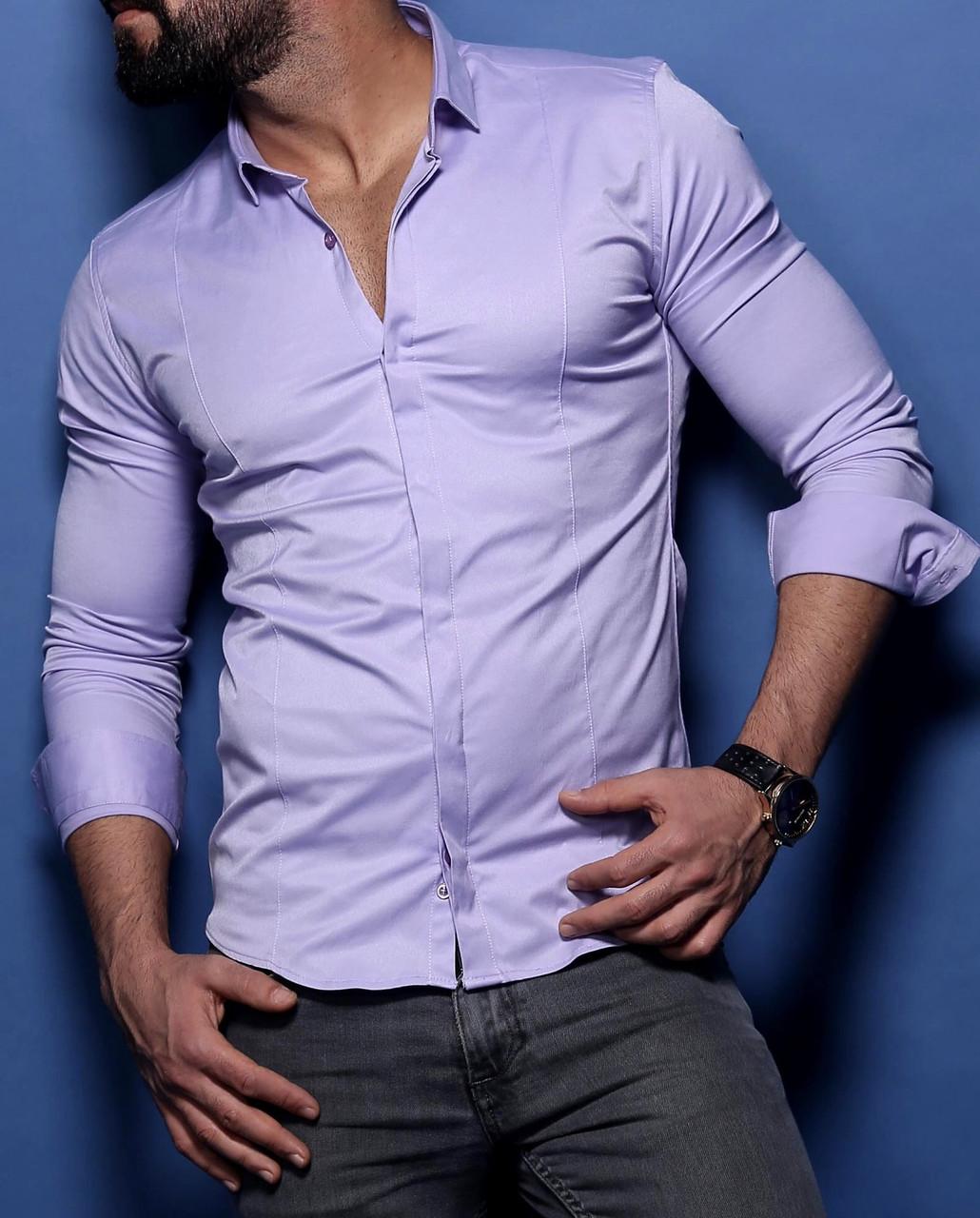 Шикарная  рубашка для мужчин на потайных пуговицах