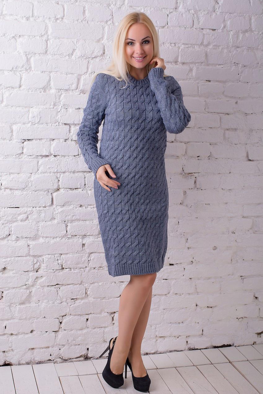 Платье вязанное Владена джинс (44-48)