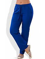 Льняные синие летние брюки 1279