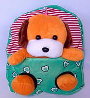 Детский рюкзак с игрушкой для девочки Собачка 22*26 см зеленый