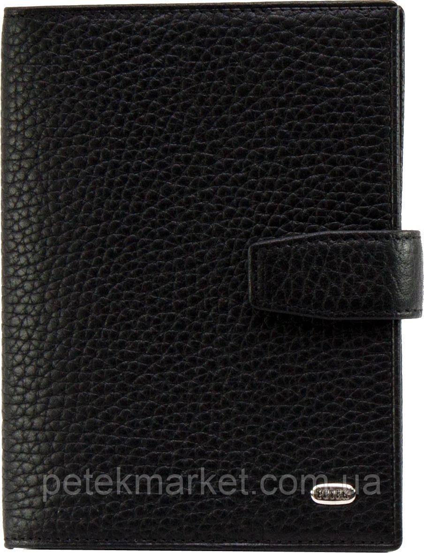 Обложка для паспорта и автодокументов Petek 595, Черный, Естественная фактура, Матовая, Кожа