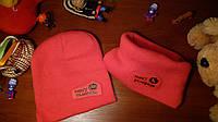 Детский комплект шапка+ хомут красно-розовый для девочки