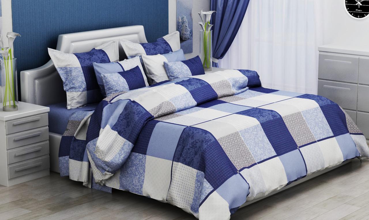Двуспальный комплект постельного белья 180*220 из бязи Голд Комбо (blue)