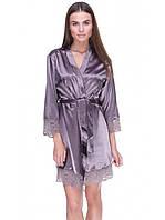 Женский сатиновый халат с гипюром, фото 1
