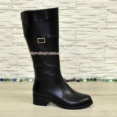 Сапоги кожаные черные женские демисезонные на невысоком каблуке