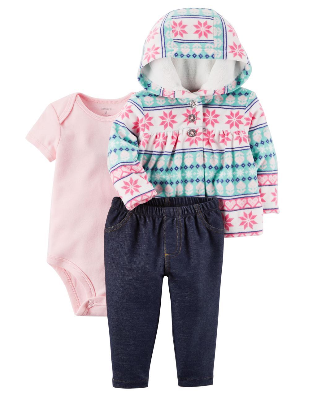 Набор из 3-х предметов Картерс(Carter's) для девочки, розовый