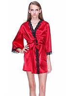 Сатиновый женский халат с гипюром, фото 1