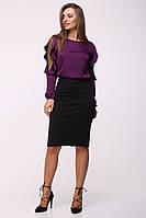 Нарядная блуза с рюшами на рукавах Алика фиолетовый