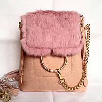 Кожаный розовый рюкзак с пухом, с мехом