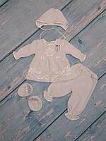 Нарядный комплект для девочки на крещение, (велюр), р. 68, фото 1