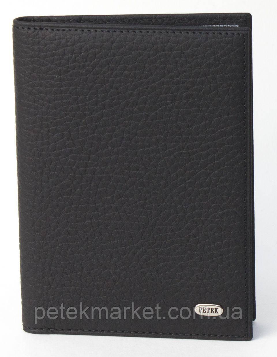 Обложка для прав Petek 584, Черный, Естественная фактура, Матовая
