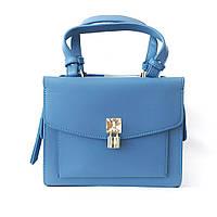 Кожаная голубая сумка zara