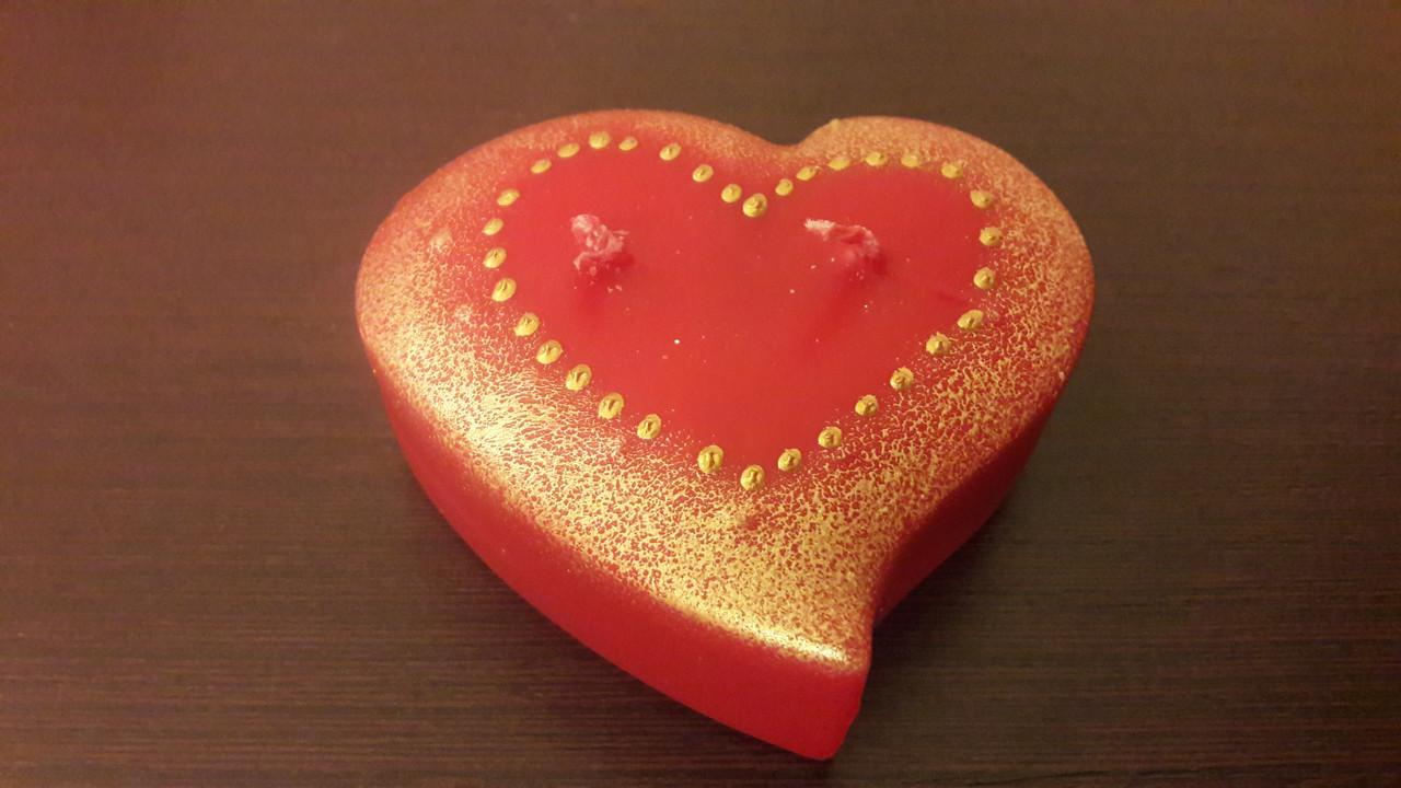 Свічка Серце з двома гнотами