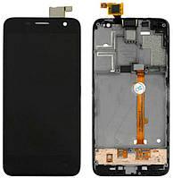 Дисплей для Alcatel OT 6012 One Touch Idol Mini Sate/6012D + сенсорное стекло, черный, с передней панелью, оригинал