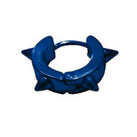 Серьга-кольцо с 4 шипами синяя