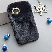 Меховой чехол для iPhone 5 / 5s / SE Black