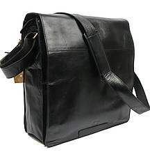 Мужская вместительная сумка c клапаном из натуральной кожи Always Wild C48.0524-CBH черная 34х35х11 см.