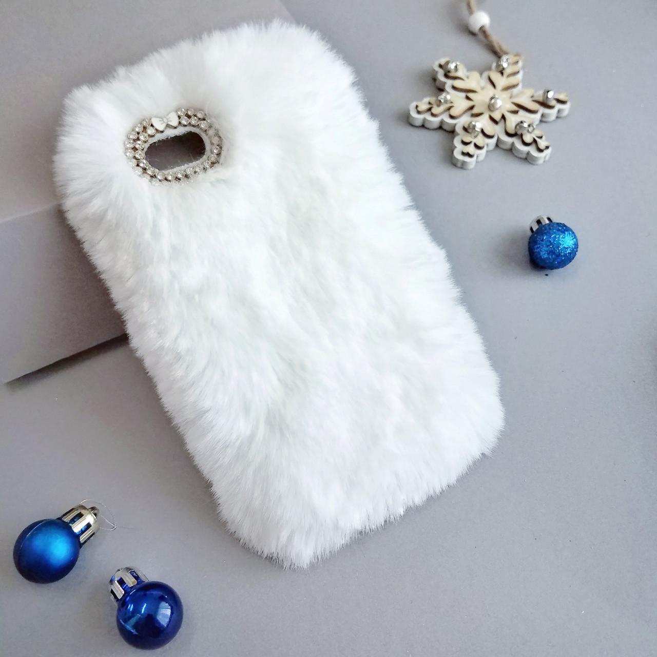 Меховой чехол для iPhone 5 / 5s / SE White