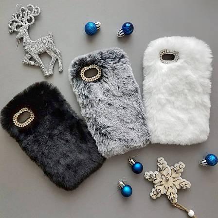 Меховой чехол для iPhone 5 / 5s / SE White, фото 2