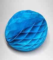 Бумажный шар соты, 25 см, голубой