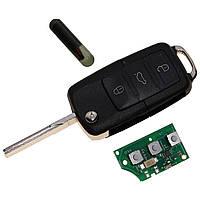 Выкидной ключ для VOLKSWAGEN 3 Кнопки чип Id48 1J0 959 753 P 1J0959753P Flip Key 433mhz, фото 1