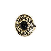Кольцо Гармония жизни ( черный кабошон, бронза)