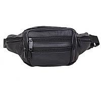 Мужская кожаная сумка бананка на пояс черная RT-547001-1R