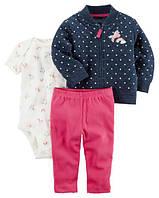 Набор из 3-х предметов Картерс(Carter's) для девочки синий, красный и белый