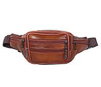 Мужская кожаная сумка бананка на пояс рыжая Accessory Collection RT-547001-2R