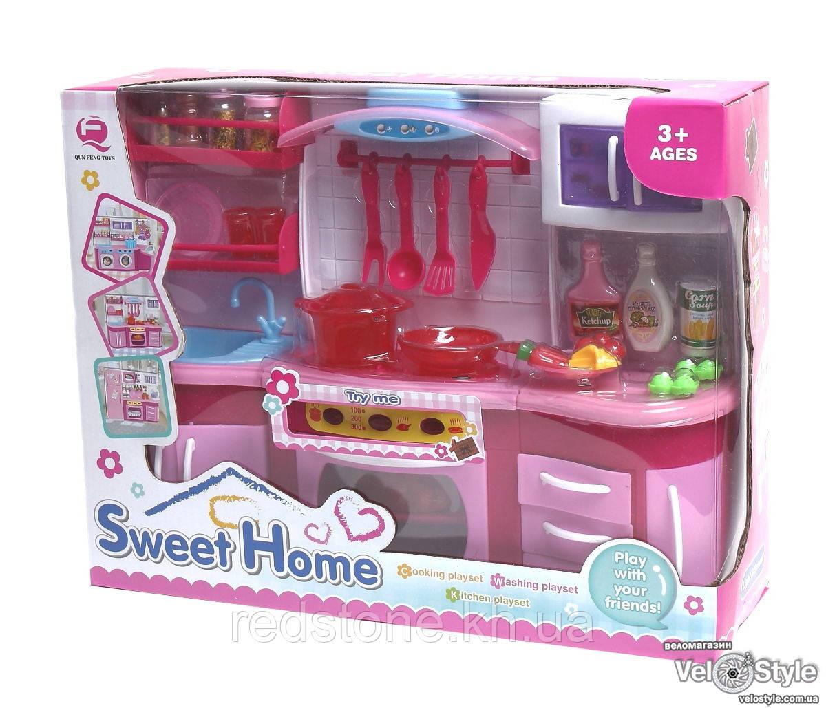Игровой набор кухня №1 звук, свет, духовка, варочная поверхность, посуда, продукты
