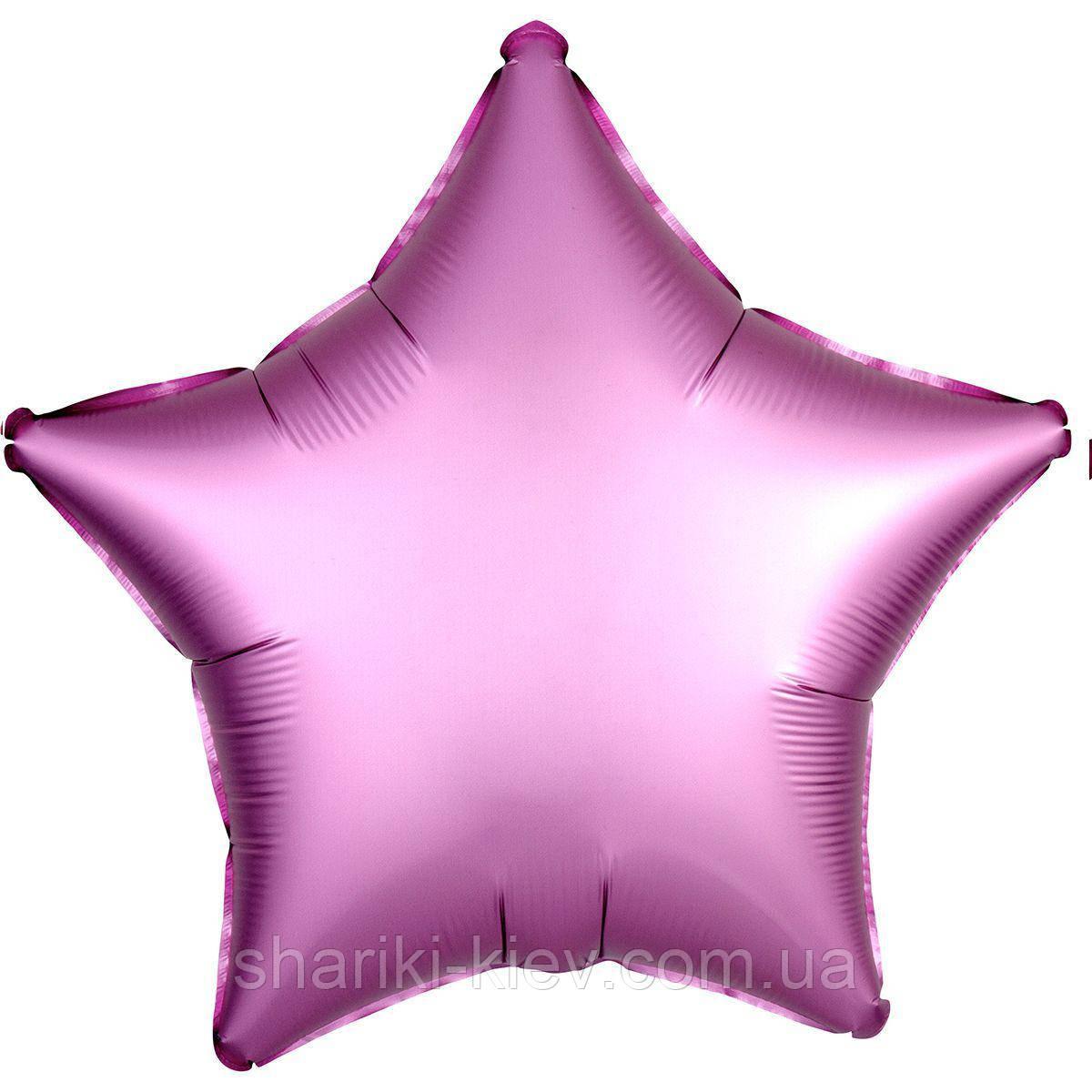 Фольгированная Звезда Сатин Фламинго