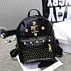 Женский рюкзак маленький черный с заклепками экокожа опт