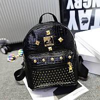 Женский рюкзак маленький черный с заклепками экокожа опт, фото 1