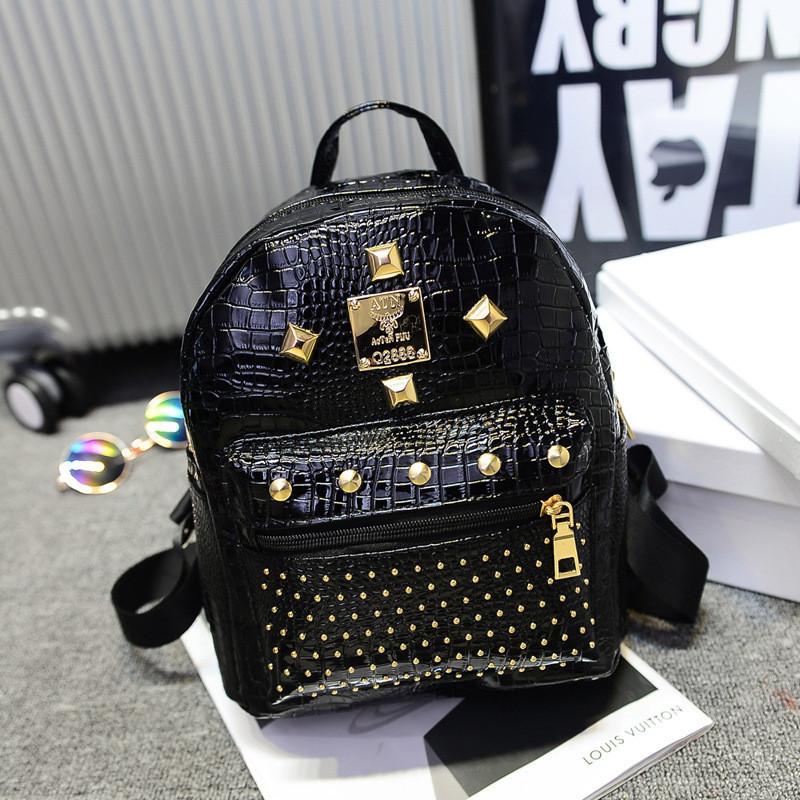 1ef2880715de Женский рюкзак маленький черный с заклепками экокожа - ModaShop в Киеве
