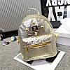 Женский рюкзак маленький золотистый с заклепками экокожа опт
