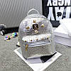 Женский рюкзак маленький серебристый экокожа опт