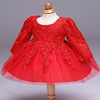 Детские платья. Красное праздничное платье для малышки