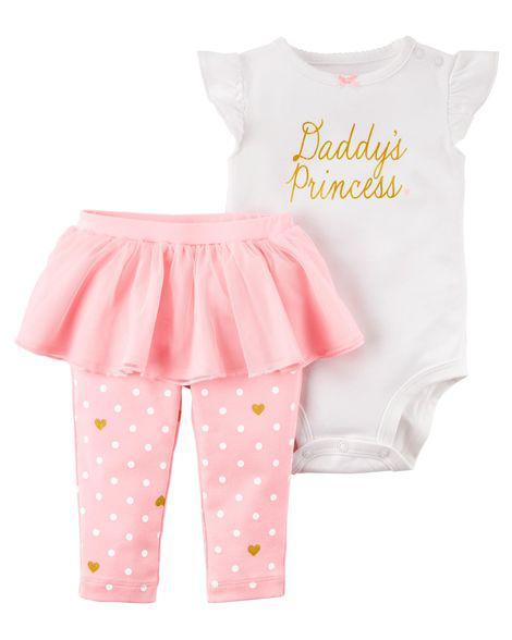 Набор из 2-х предметов Картерс(Carter's) для девочки, розовый с белым 12М(72-78см)