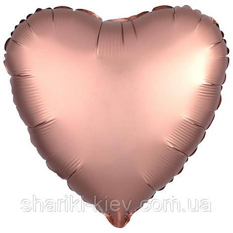Фольгированное Сердце Розовое золото, фото 2