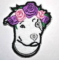 Нашивка патч Питбуль с цветами