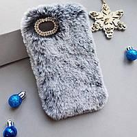 Меховой чехол для Iphone 6 plus, 6s plus Grey